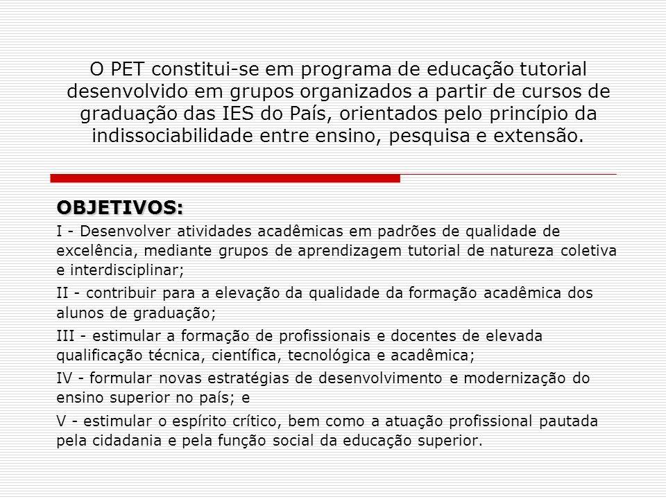 O PET constitui-se em programa de educação tutorial desenvolvido em grupos organizados a partir de cursos de graduação das IES do País, orientados pel