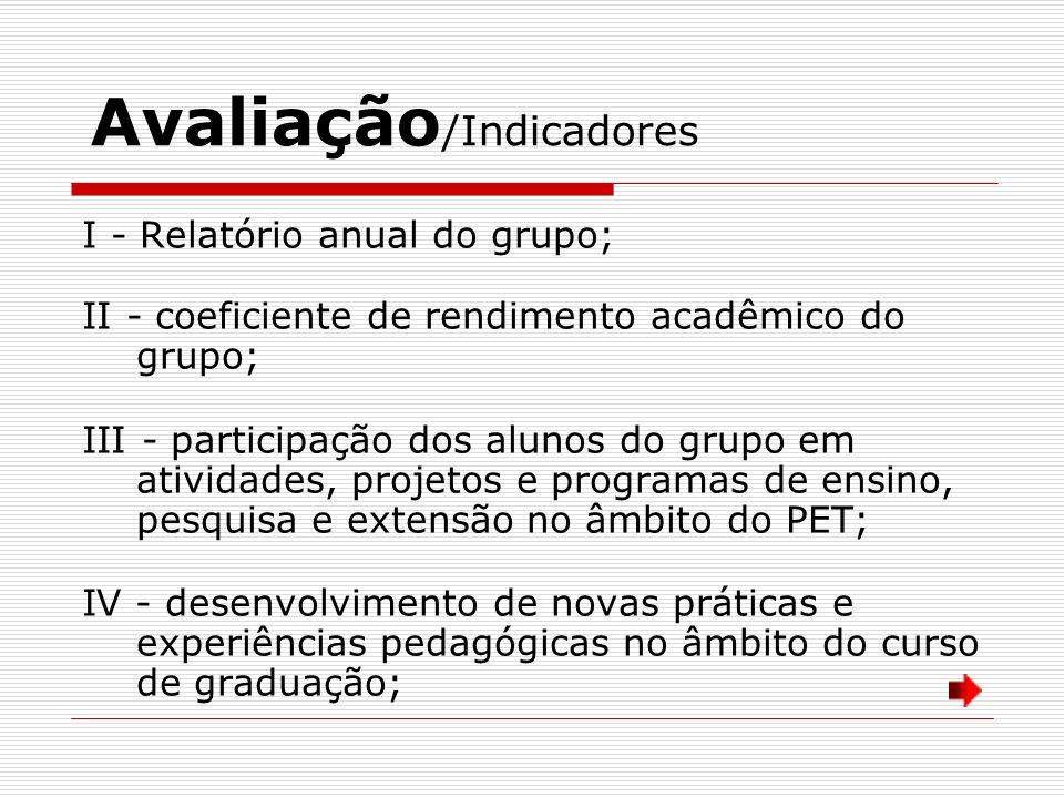 Avaliação /Indicadores I - Relatório anual do grupo; II - coeficiente de rendimento acadêmico do grupo; III - participação dos alunos do grupo em ativ