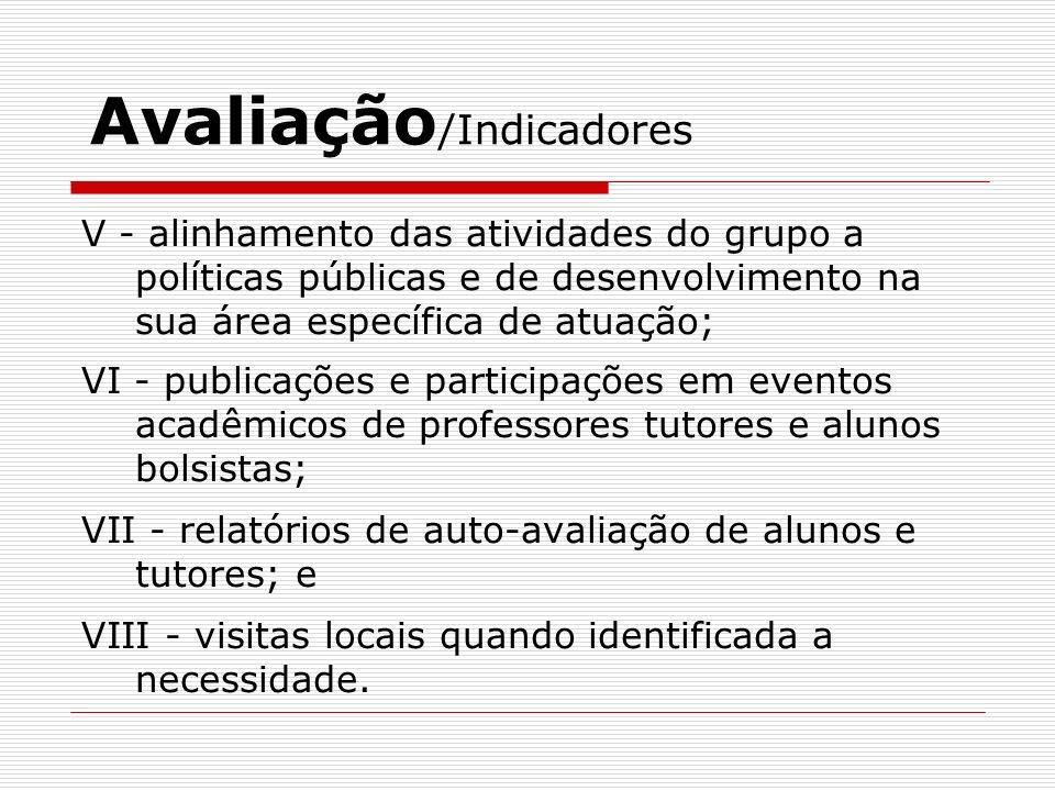 Avaliação /Indicadores V - alinhamento das atividades do grupo a políticas públicas e de desenvolvimento na sua área específica de atuação; VI - publi