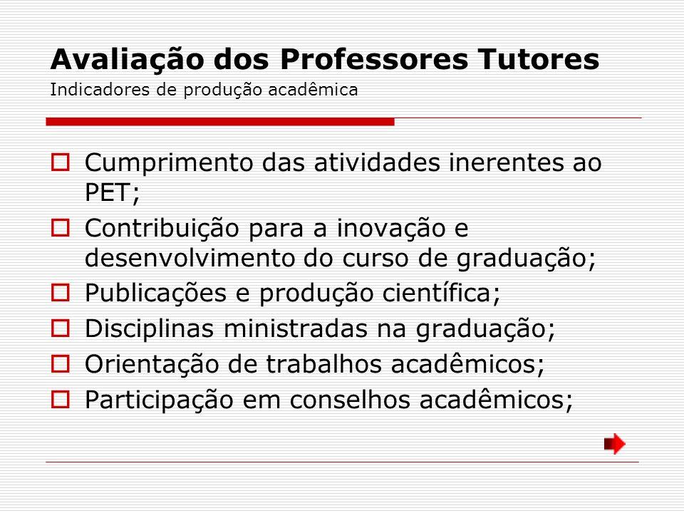 Avaliação dos Professores Tutores Indicadores de produção acadêmica Cumprimento das atividades inerentes ao PET; Contribuição para a inovação e desenv