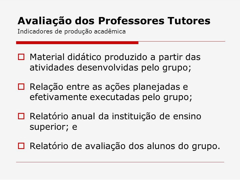 Avaliação dos Professores Tutores Indicadores de produção acadêmica Material didático produzido a partir das atividades desenvolvidas pelo grupo; Rela