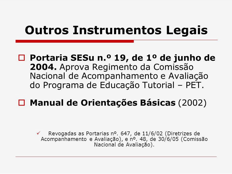 Outros Instrumentos Legais Portaria SESu n.º 19, de 1º de junho de 2004. Aprova Regimento da Comissão Nacional de Acompanhamento e Avaliação do Progra