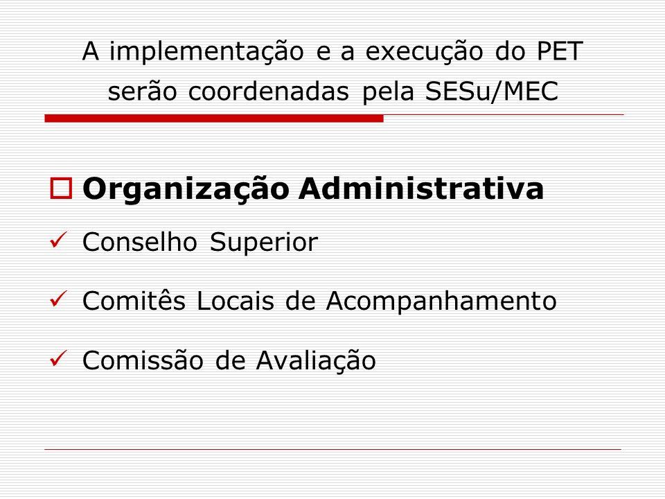 A implementação e a execução do PET serão coordenadas pela SESu/MEC Organização Administrativa Conselho Superior Comitês Locais de Acompanhamento Comi