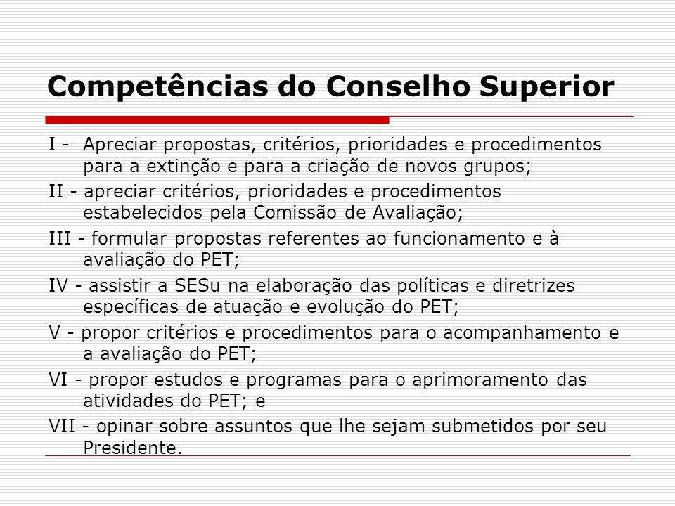 Competências do Conselho Superior I - Apreciar propostas, critérios, prioridades e procedimentos para a extinção e para a criação de novos grupos; II