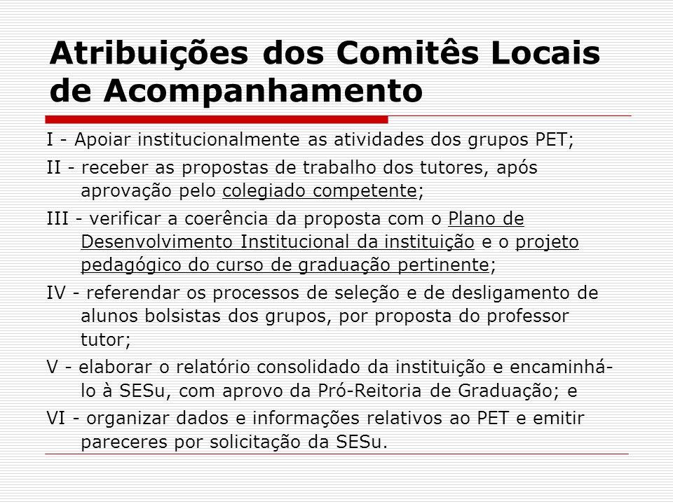 Atribuições dos Comitês Locais de Acompanhamento I - Apoiar institucionalmente as atividades dos grupos PET; II - receber as propostas de trabalho dos