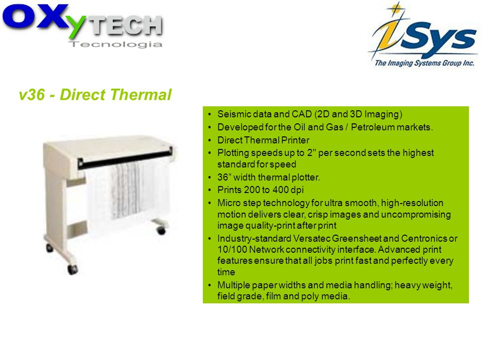 v36 - Direct Thermal Seismic data and CAD (2D and 3D Imaging) Developed for the Oil and Gas / Petroleum markets. Direct Thermal Printer Plotting speed