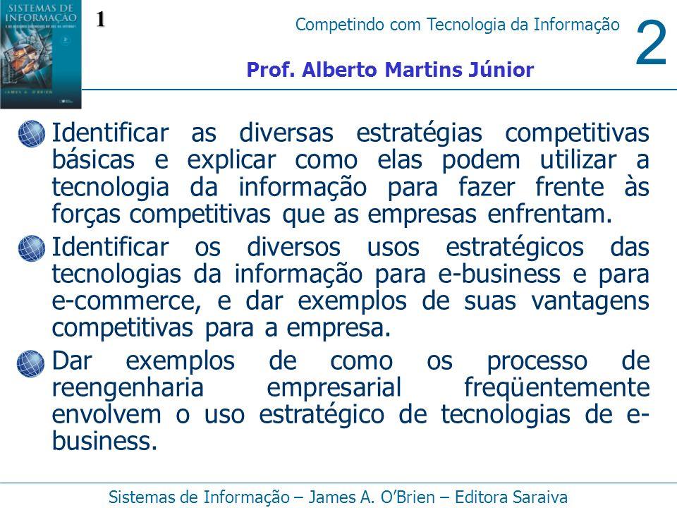 2 Competindo com Tecnologia da Informação Sistemas de Informação – James A. OBrien – Editora Saraiva Identificar as diversas estratégias competitivas