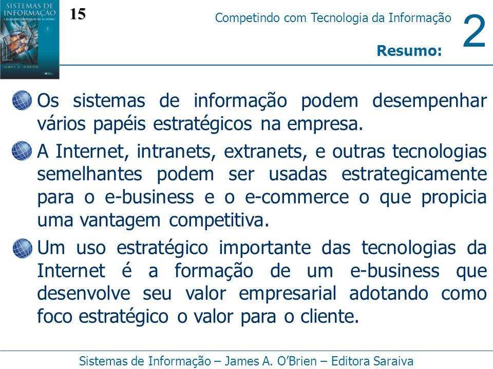 2 Competindo com Tecnologia da Informação Sistemas de Informação – James A. OBrien – Editora Saraiva Os sistemas de informação podem desempenhar vário