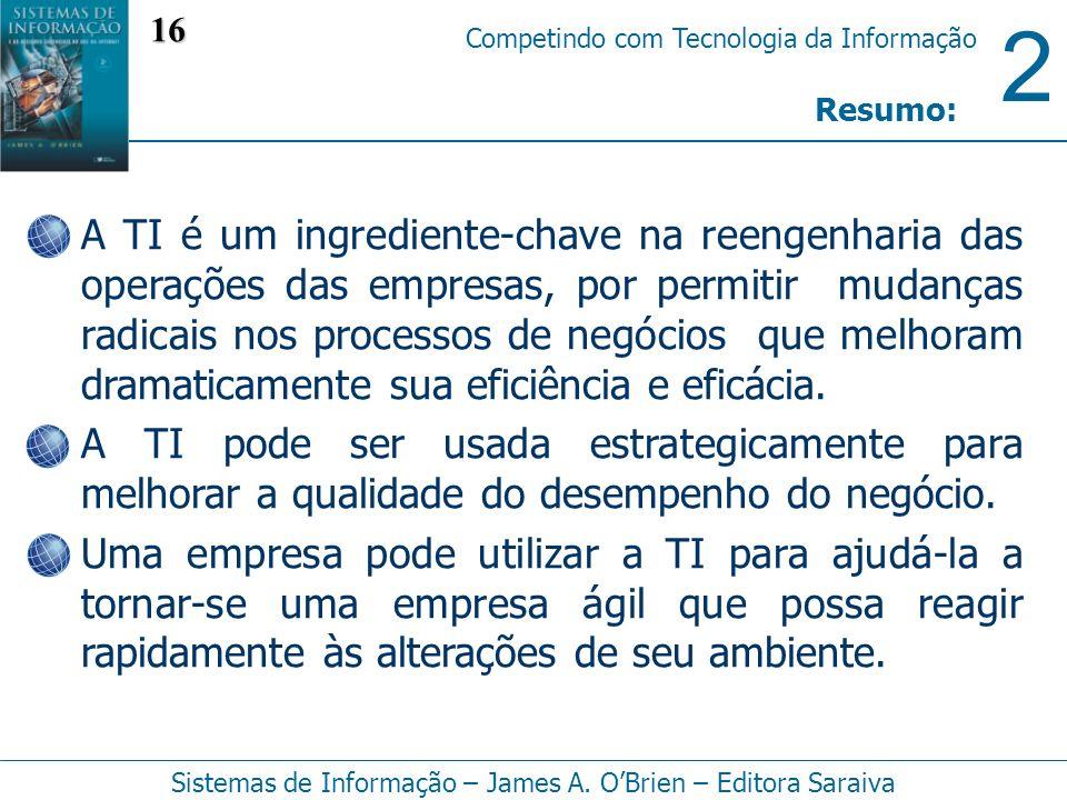 2 Competindo com Tecnologia da Informação Sistemas de Informação – James A. OBrien – Editora Saraiva A TI é um ingrediente-chave na reengenharia das o