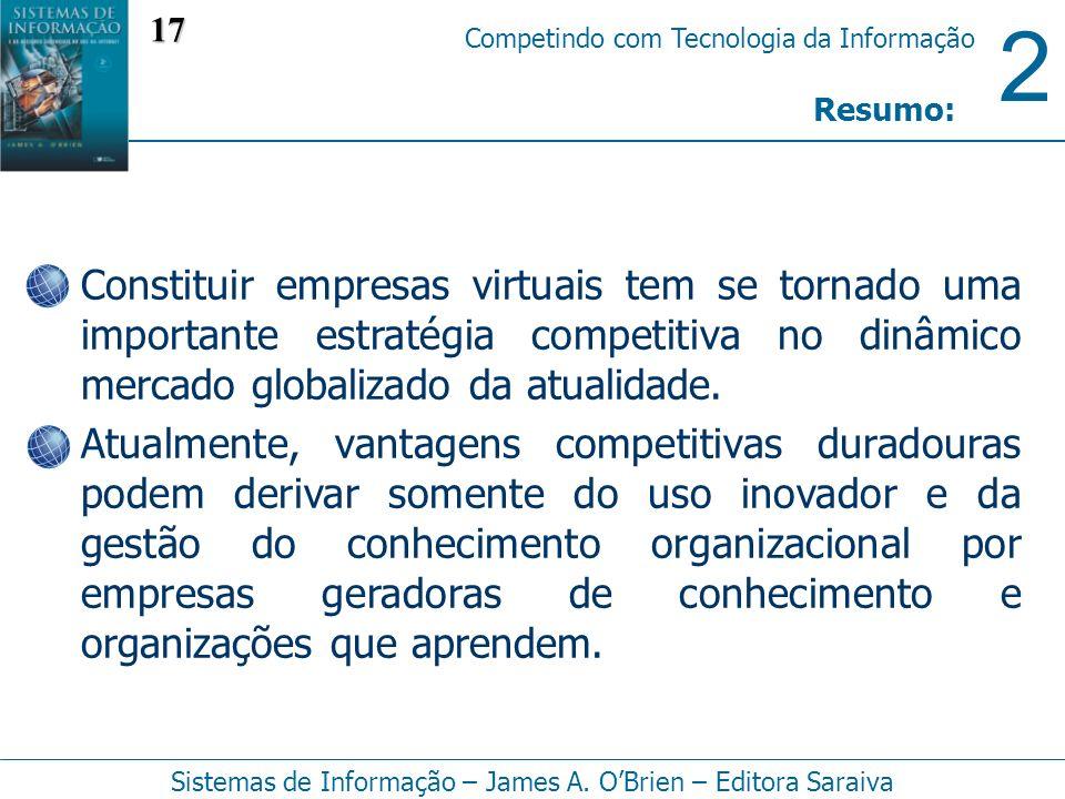2 Competindo com Tecnologia da Informação Sistemas de Informação – James A. OBrien – Editora Saraiva Constituir empresas virtuais tem se tornado uma i