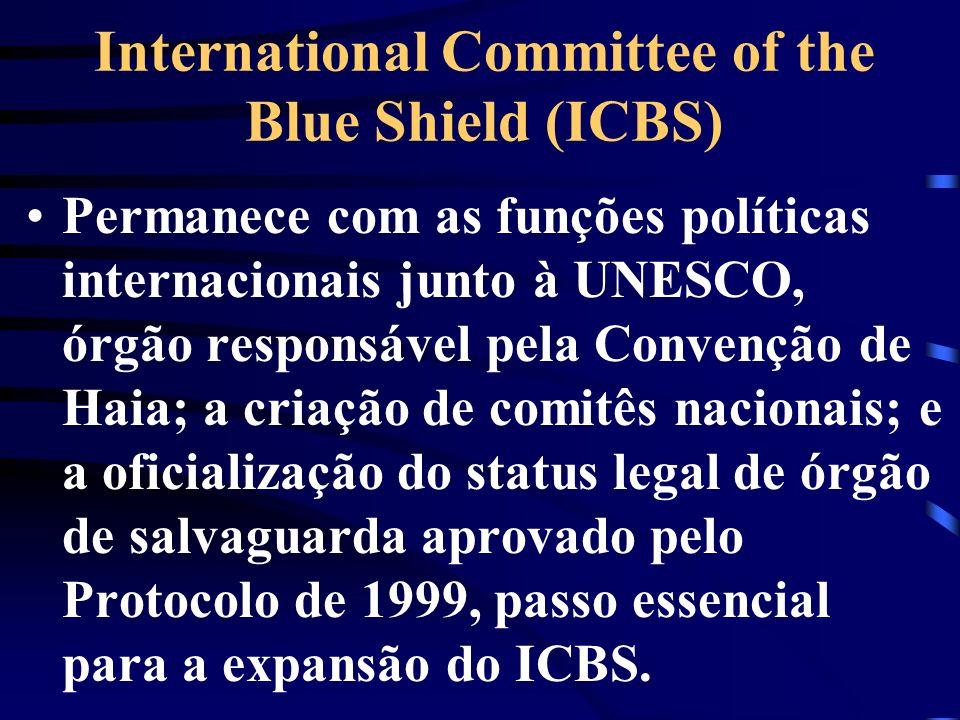 International Committee of the Blue Shield (ICBS) Permanece com as funções políticas internacionais junto à UNESCO, órgão responsável pela Convenção d
