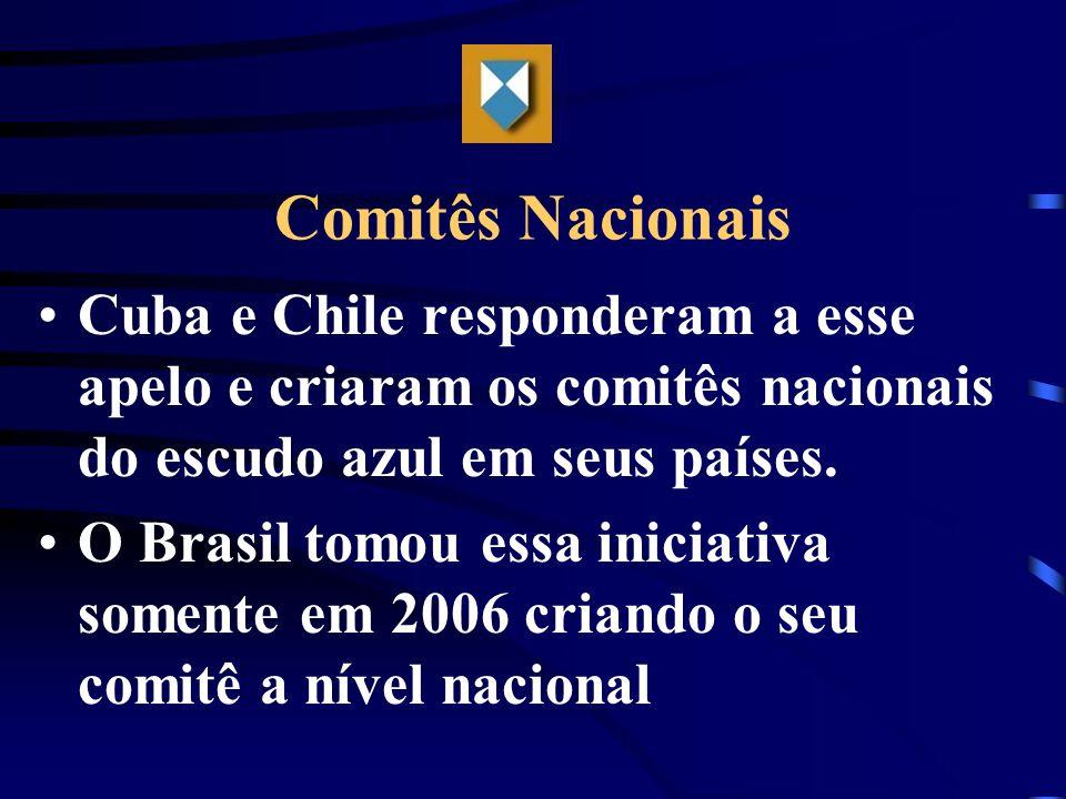 Comitês Nacionais Cuba e Chile responderam a esse apelo e criaram os comitês nacionais do escudo azul em seus países. O Brasil tomou essa iniciativa s