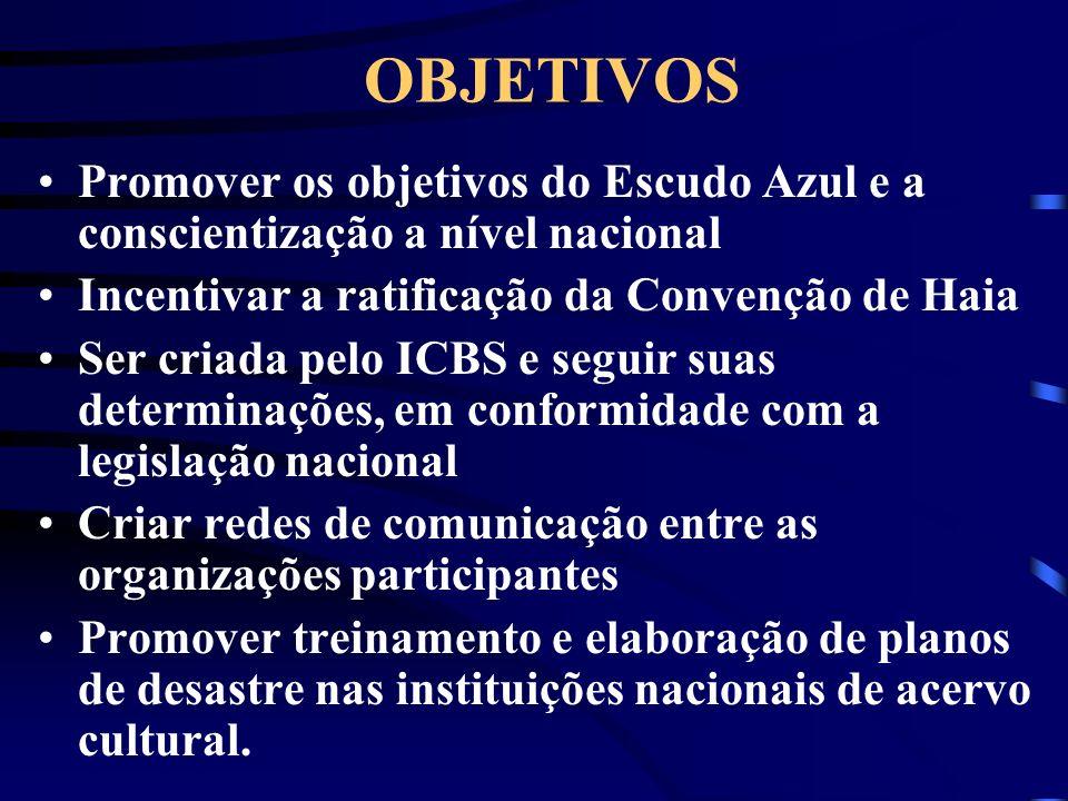 OBJETIVOS Promover os objetivos do Escudo Azul e a conscientização a nível nacional Incentivar a ratificação da Convenção de Haia Ser criada pelo ICBS
