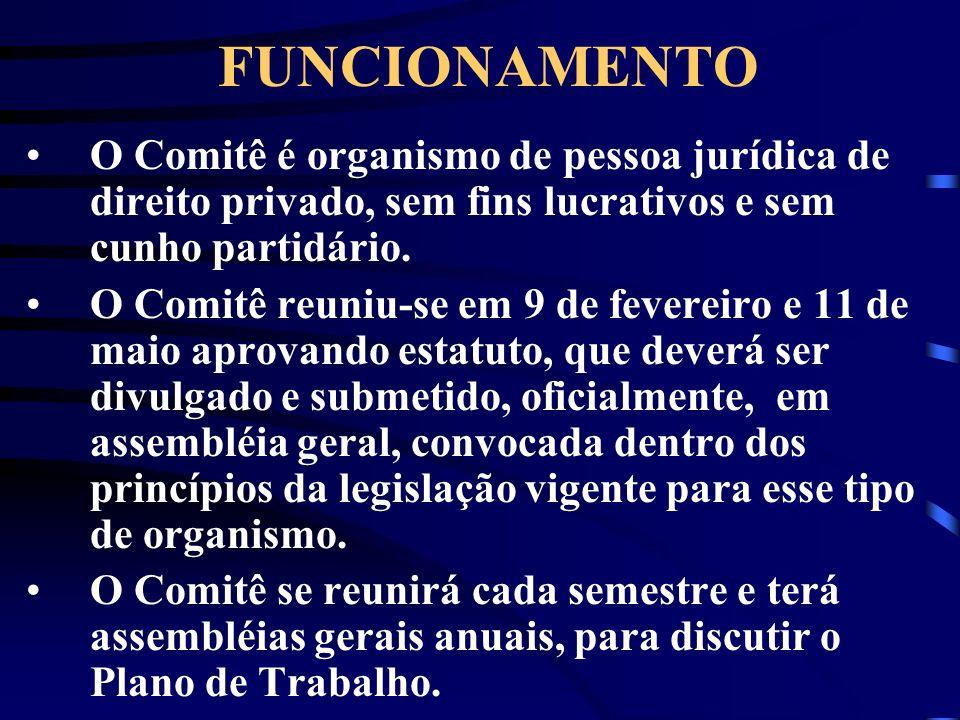 FUNCIONAMENTO O Comitê é organismo de pessoa jurídica de direito privado, sem fins lucrativos e sem cunho partidário. O Comitê reuniu-se em 9 de fever