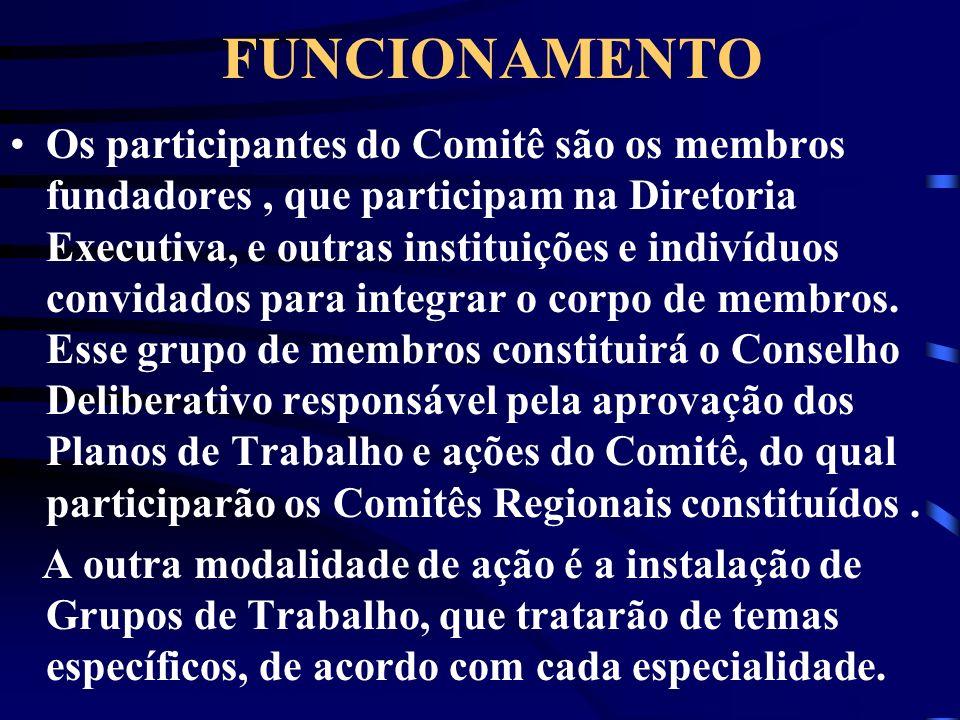 FUNCIONAMENTO Os participantes do Comitê são os membros fundadores, que participam na Diretoria Executiva, e outras instituições e indivíduos convidad