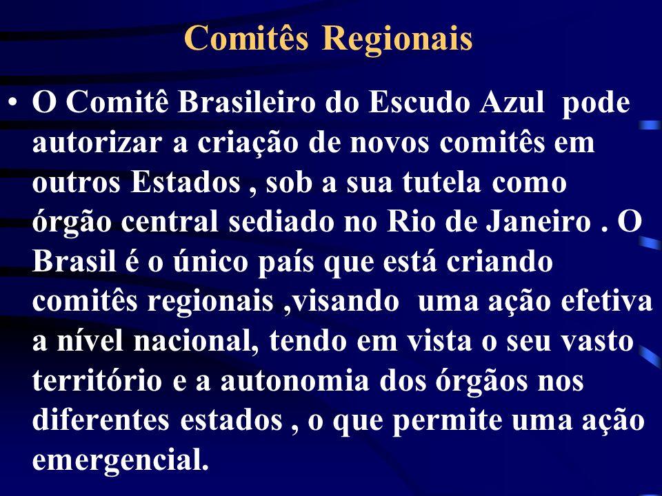 Comitês Regionais O Comitê Brasileiro do Escudo Azul pode autorizar a criação de novos comitês em outros Estados, sob a sua tutela como órgão central