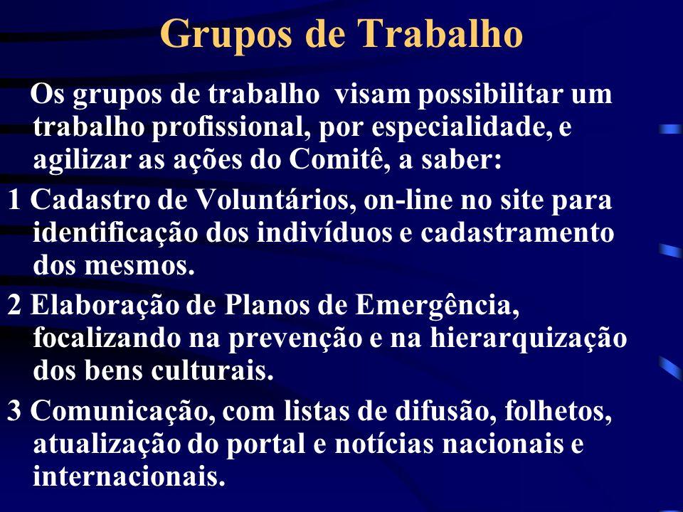 Grupos de Trabalho Os grupos de trabalho visam possibilitar um trabalho profissional, por especialidade, e agilizar as ações do Comitê, a saber: 1 Cad