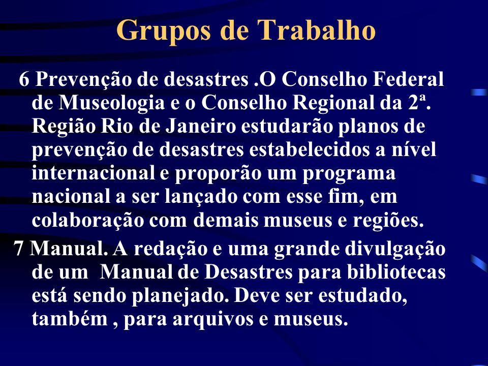 Grupos de Trabalho 6 Prevenção de desastres.O Conselho Federal de Museologia e o Conselho Regional da 2ª. Região Rio de Janeiro estudarão planos de pr