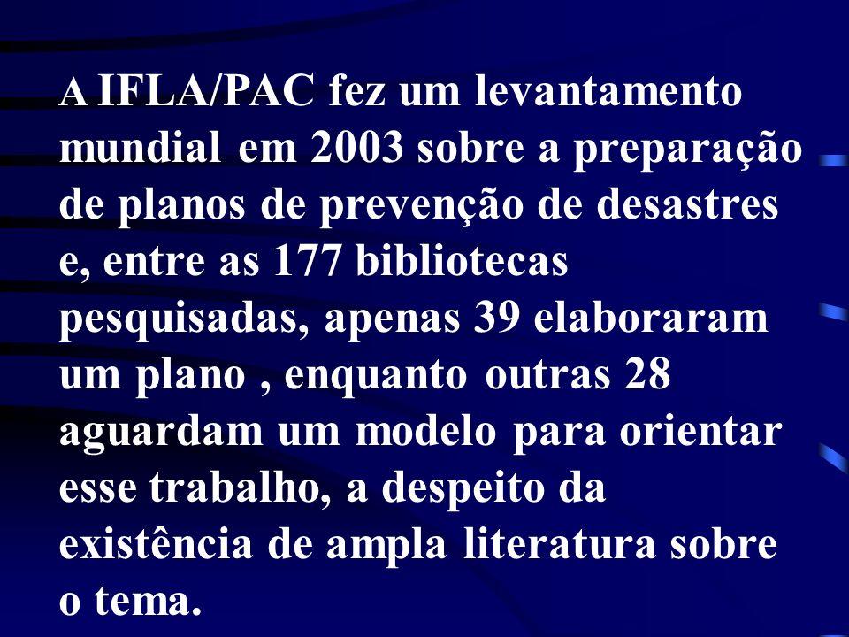 A IFLA/PAC fez um levantamento mundial em 2003 sobre a preparação de planos de prevenção de desastres e, entre as 177 bibliotecas pesquisadas, apenas
