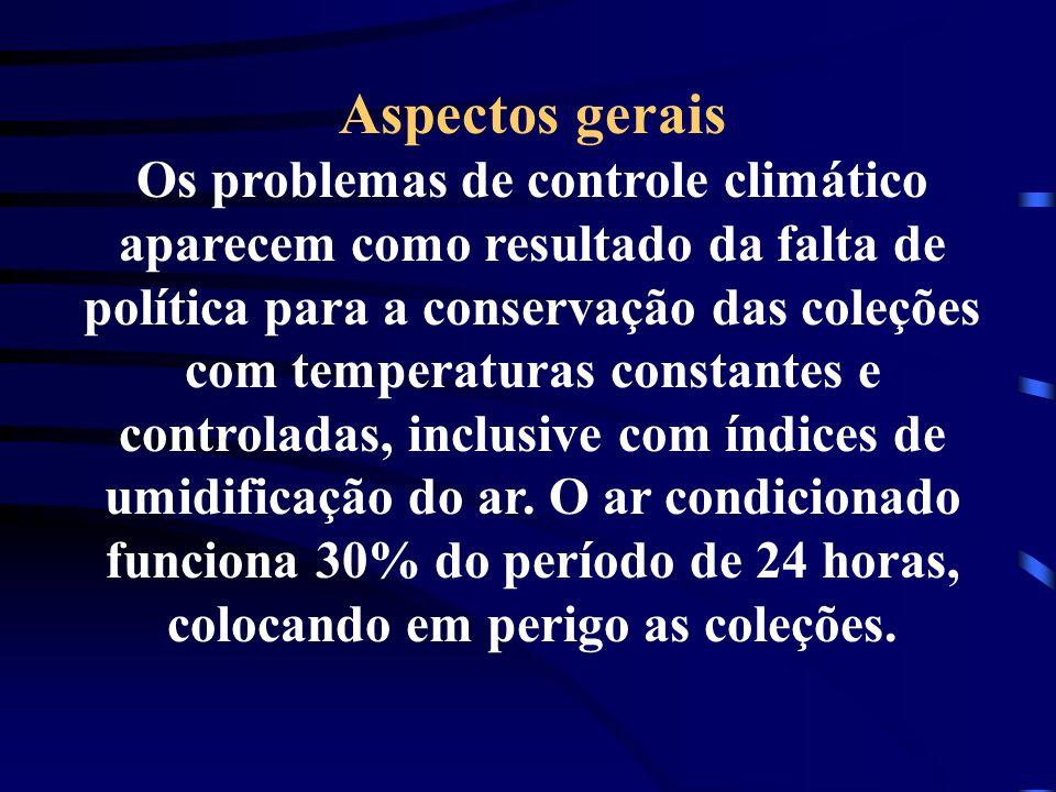 Aspectos gerais Os problemas de controle climático aparecem como resultado da falta de política para a conservação das coleções com temperaturas const