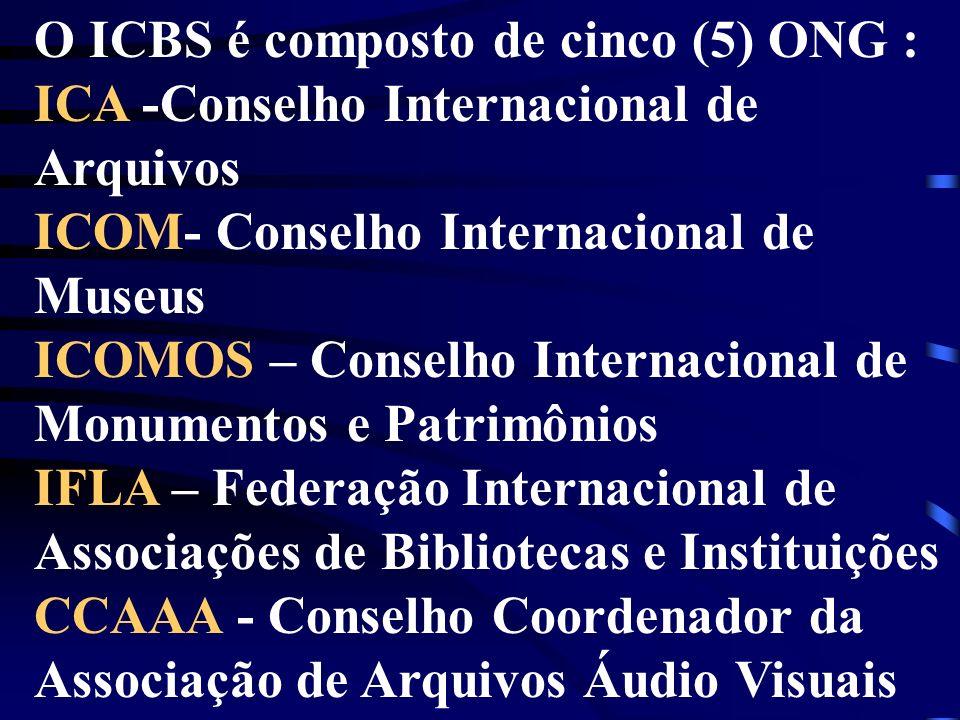 O ICBS é composto de cinco (5) ONG : ICA -Conselho Internacional de Arquivos ICOM- Conselho Internacional de Museus ICOMOS – Conselho Internacional de