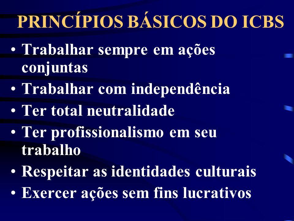 PRINCÍPIOS BÁSICOS DO ICBS Trabalhar sempre em ações conjuntas Trabalhar com independência Ter total neutralidade Ter profissionalismo em seu trabalho