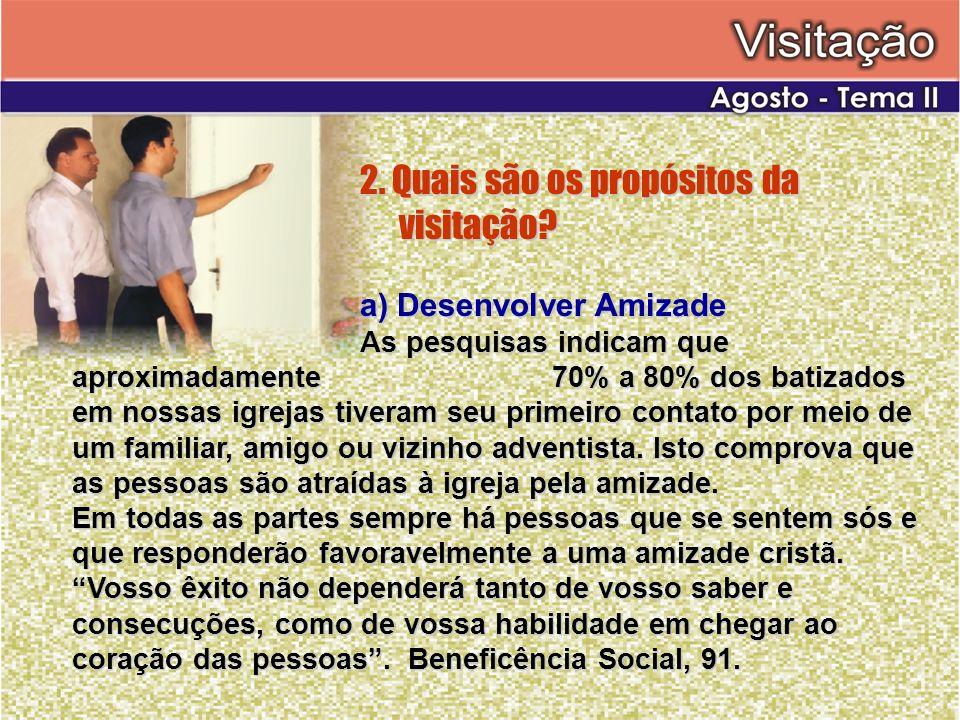 2. Quais são os propósitos da visitação? a) Desenvolver Amizade As pesquisas indicam que aproximadamente 70% a 80% dos batizados em nossas igrejas tiv