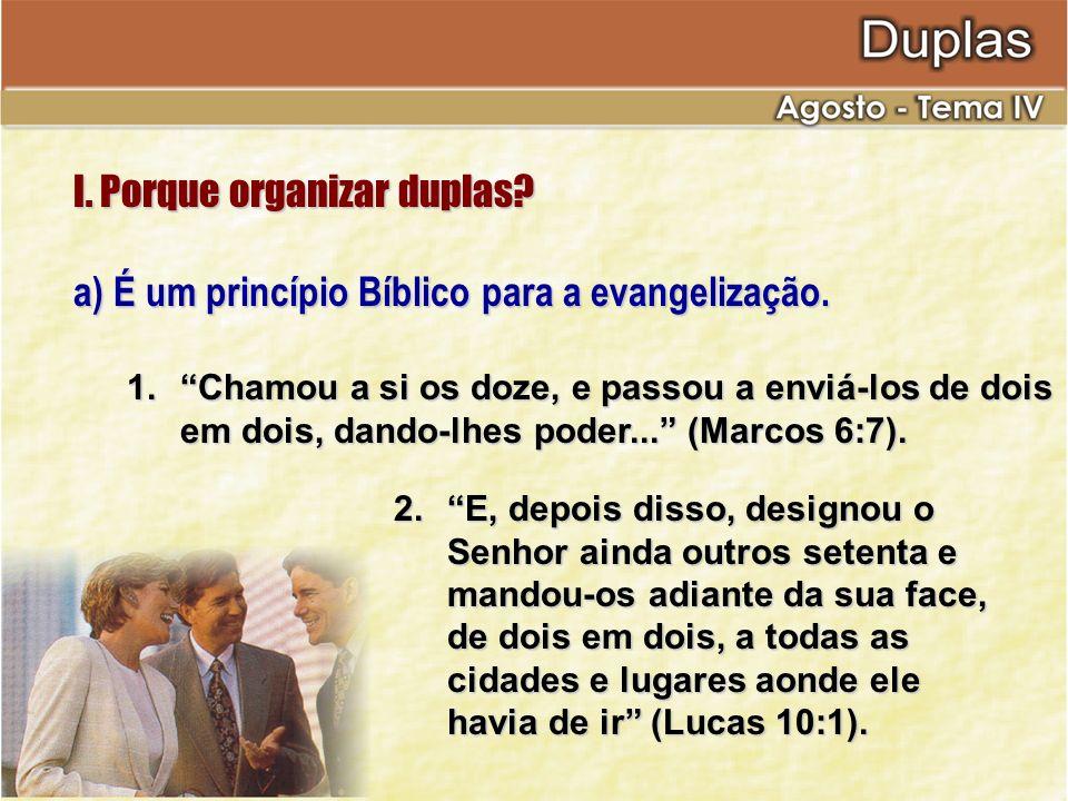 I. Porque organizar duplas? a) É um princípio Bíblico para a evangelização. 1.Chamou a si os doze, e passou a enviá-los de dois em dois, dando-lhes po