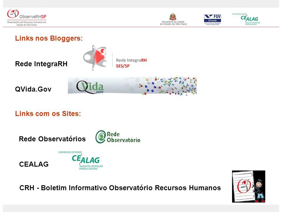 Links nos Bloggers: Rede IntegraRH QVida.Gov Links com os Sites: Rede Observatórios CEALAG CRH - Boletim Informativo Observatório Recursos Humanos