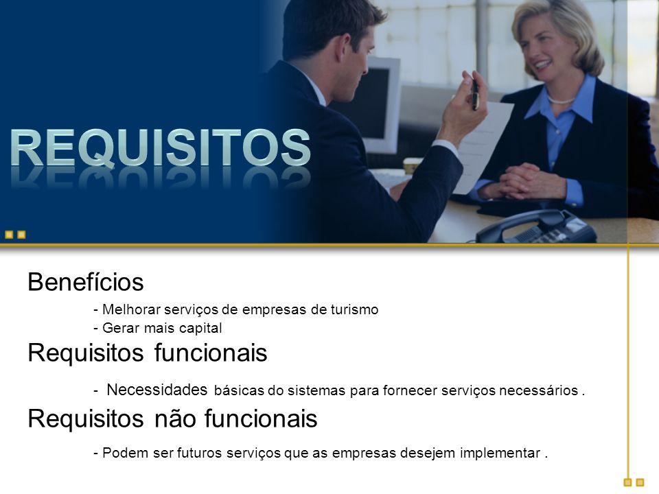 Benefícios - Melhorar serviços de empresas de turismo - Gerar mais capital Requisitos funcionais - Necessidades básicas do sistemas para fornecer serv