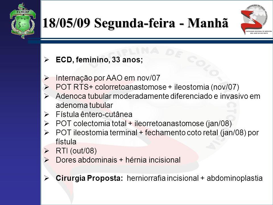 18/05/09 Segunda-feira - Manhã ECD, feminino, 33 anos; Internação por AAO em nov/07 POT RTS+ colorretoanastomose + ileostomia (nov/07) Adenoca tubular