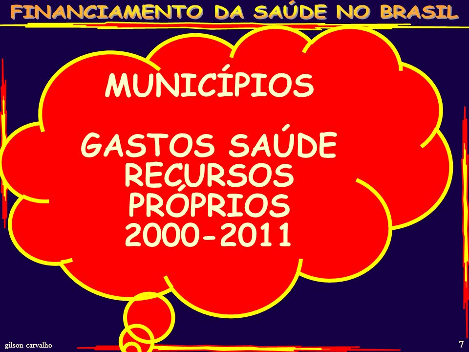gilson carvalho 17 ESTIMATIVA GASTO SAÚDE BRASIL - 2011 FONTES R$ BI% PP% TOT%PIB FEDERAL 724722 1,7 ESTADUAL 402612 1,0 MUNICIPAL 422713 1,0 TOTAL PÚBLICO 15410047 3,7 PLANOS SEGUROS 834825 2,0 GASTO DIRETO 27168 0,7 MEDICAMENTOS 613519 1,5 TOTAL PRIVADO 17210053 4,2 TOTAL BRASIL 326 100 7,9 FONTE: MS/SPO; MS/SIOPS;ANS;IBGE/POF - 2008 – ESTUDOS GC % PP=% PÚBLICO E PRIVADO;% TOT= TOTAL;IPEA:PIB 2011 4,1 TRI;GASTO DIRETO= PESSOAS PAGANDO DIRETAMENTE OS SERVIÇOS DE SAÚDE.