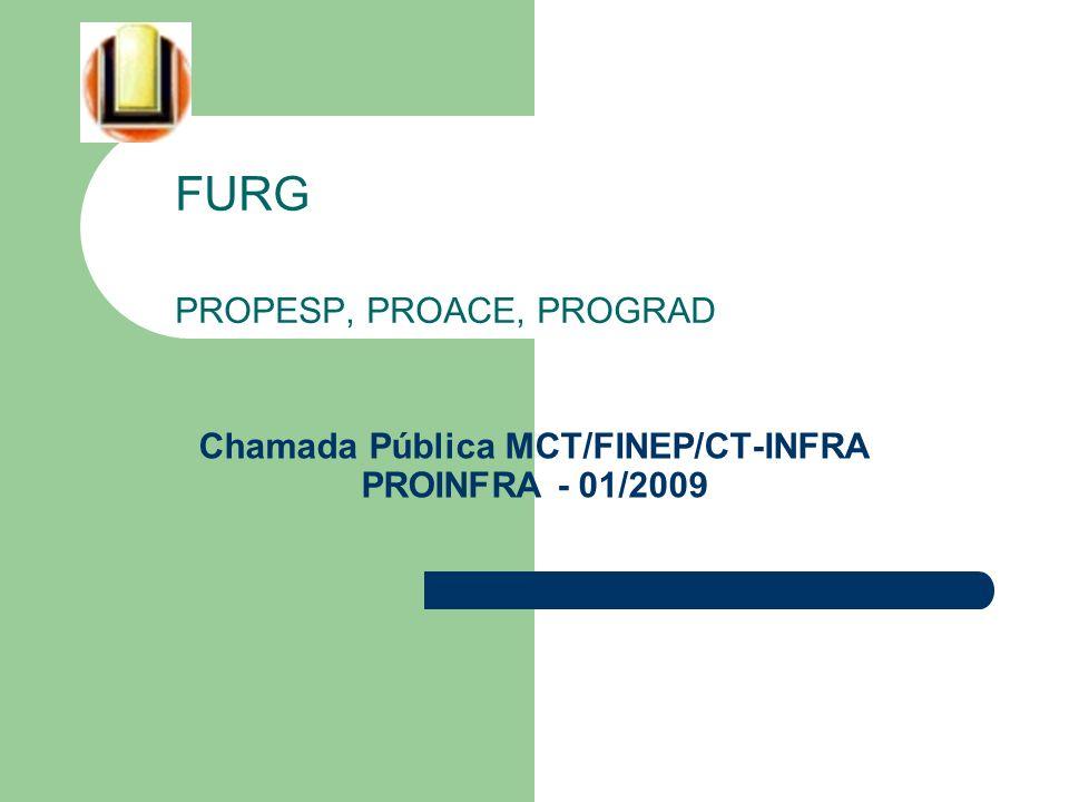 PROINFRA - 01/2009 Características da Chamada Pública - Objetivo – Implantação, modernização e recuperação de infraestrutura física de pesquisa nas Universidades