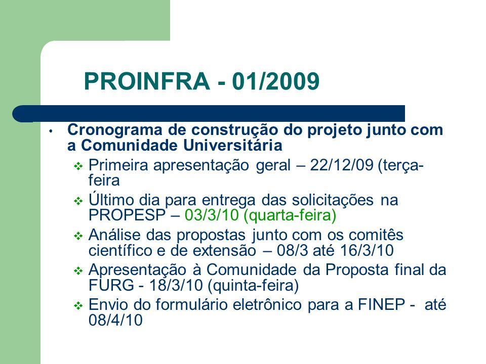 PROINFRA - 01/2009 Cronograma de construção do projeto junto com a Comunidade Universitária Primeira apresentação geral – 22/12/09 (terça- feira Últim