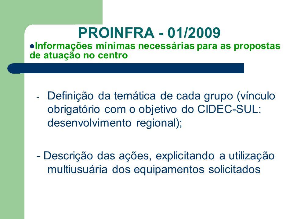 PROINFRA - 01/2009 - Definição da temática de cada grupo (vínculo obrigatório com o objetivo do CIDEC-SUL: desenvolvimento regional); - Descrição das