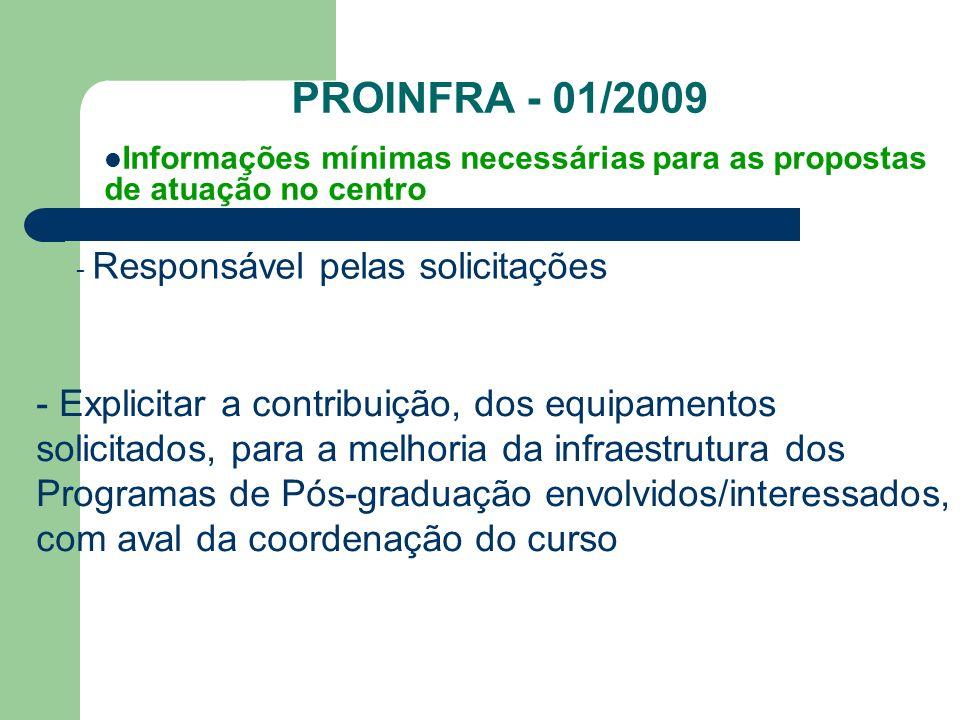 PROINFRA - 01/2009 - Responsável pelas solicitações Informações mínimas necessárias para as propostas de atuação no centro - Explicitar a contribuição