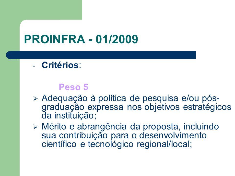 PROINFRA - 01/2009 - Critérios: Peso 5 Adequação à política de pesquisa e/ou pós- graduação expressa nos objetivos estratégicos da instituição; Mérito