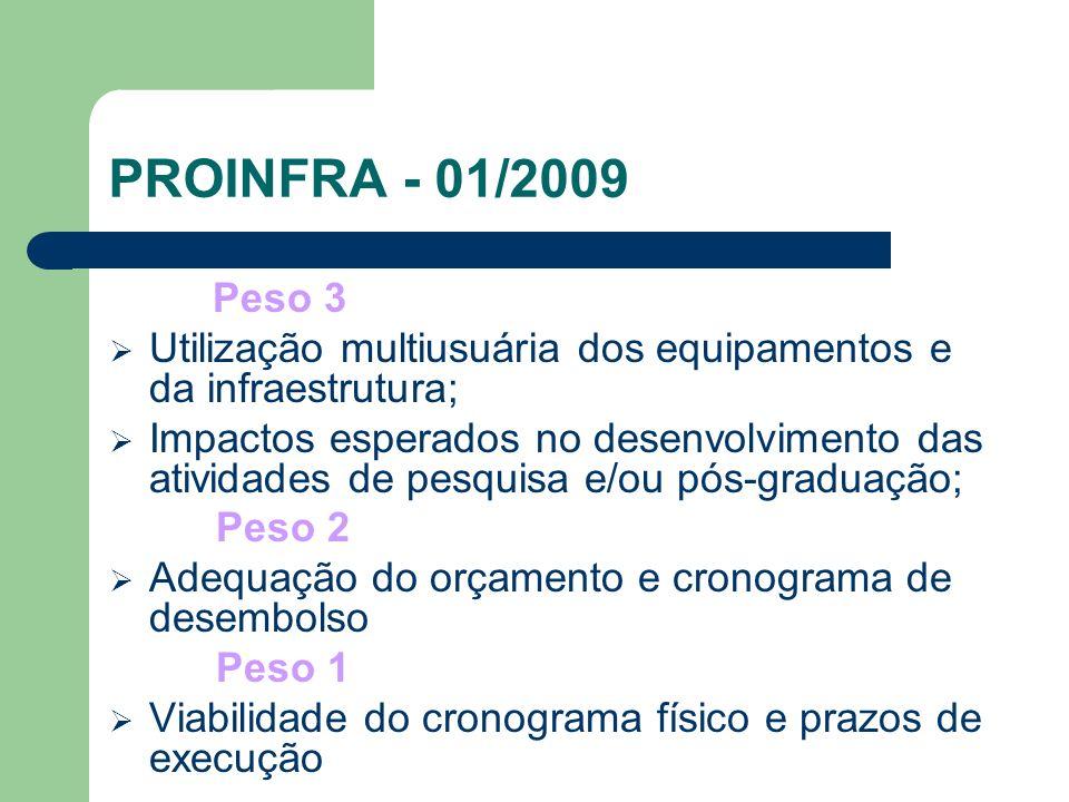 PROINFRA - 01/2009 Características dos Projetos FURG nos Editais 2004, 2005, 2006, 2007 e 2008 - Caráter Institucional - Acoplado à política institucional e à necessidade de sustentabilidade da região - Com características multiusuária, multidisciplinar, e de integração da pesquisa, ensino e extensão