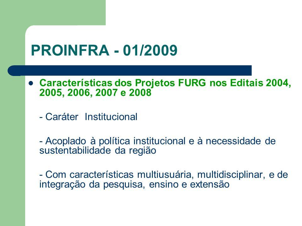PROINFRA - 01/2009 - Título: CENTRO INTEGRADO DE DESENVOLVIMENTO REGIONAL DO ECOSSISTEMA COSTEIRO DO EXTREMO SUL DO BRASIL - CIDEC-SUL - Objetivo - Criação de um Centro que impulsione, nos próximos anos, o crescimento de atividades integradas e multidisciplinares de pesquisa, ensino e extensão, dentro dos programas de pós-graduação existentes ou a serem criados na FURG, que contribuam para a sustentabilidade da nossa região.