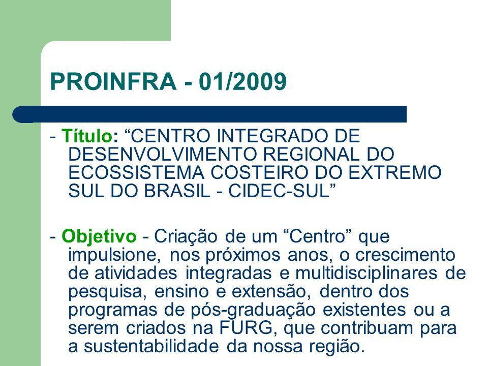 PROINFRA - 01/2009 - Título: CENTRO INTEGRADO DE DESENVOLVIMENTO REGIONAL DO ECOSSISTEMA COSTEIRO DO EXTREMO SUL DO BRASIL - CIDEC-SUL - Objetivo - Cr