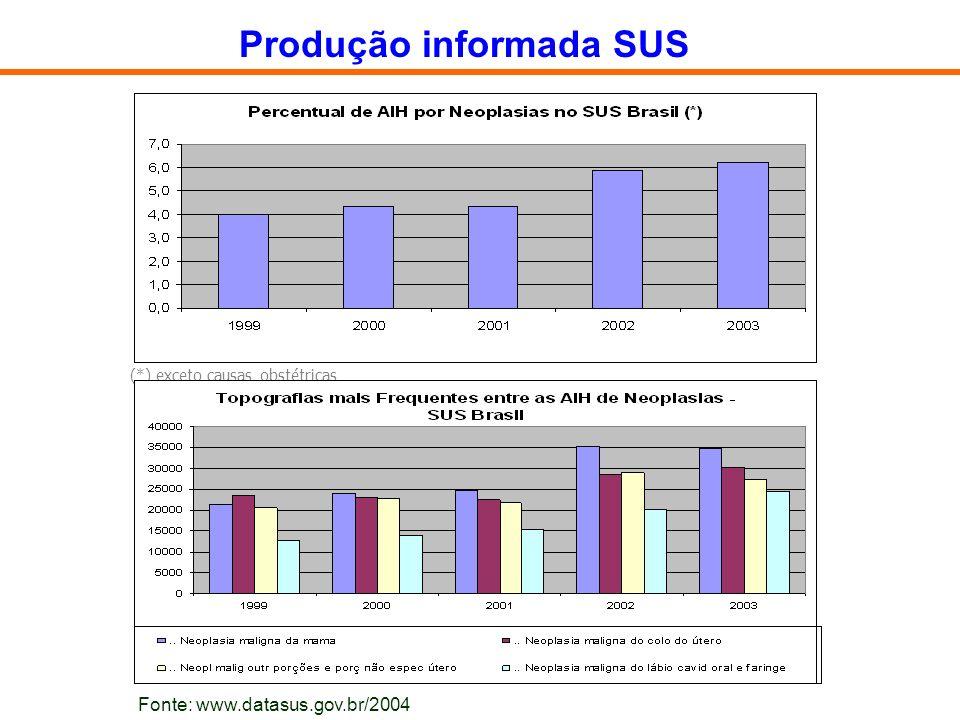 (*) exceto causas obstétricas Produção informada SUS Fonte: www.datasus.gov.br/2004