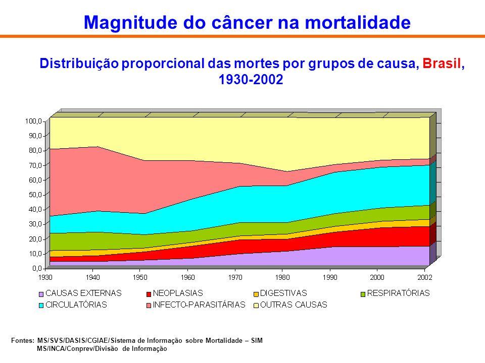 Distribuição proporcional das mortes por grupos de causa, Brasil, 1930-2002 Fontes: MS/SVS/DASIS/CGIAE/Sistema de Informação sobre Mortalidade – SIM M