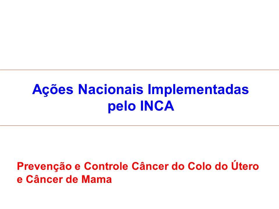 Ações Nacionais Implementadas pelo INCA Prevenção e Controle Câncer do Colo do Útero e Câncer de Mama
