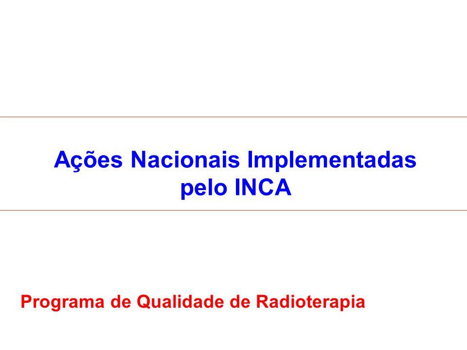 Ações Nacionais Implementadas pelo INCA Programa de Qualidade de Radioterapia