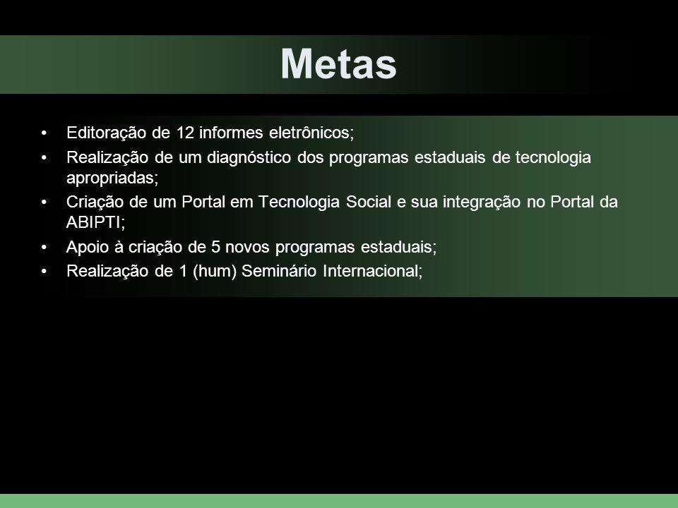Metas Editoração de 12 informes eletrônicos; Realização de um diagnóstico dos programas estaduais de tecnologia apropriadas; Criação de um Portal em T
