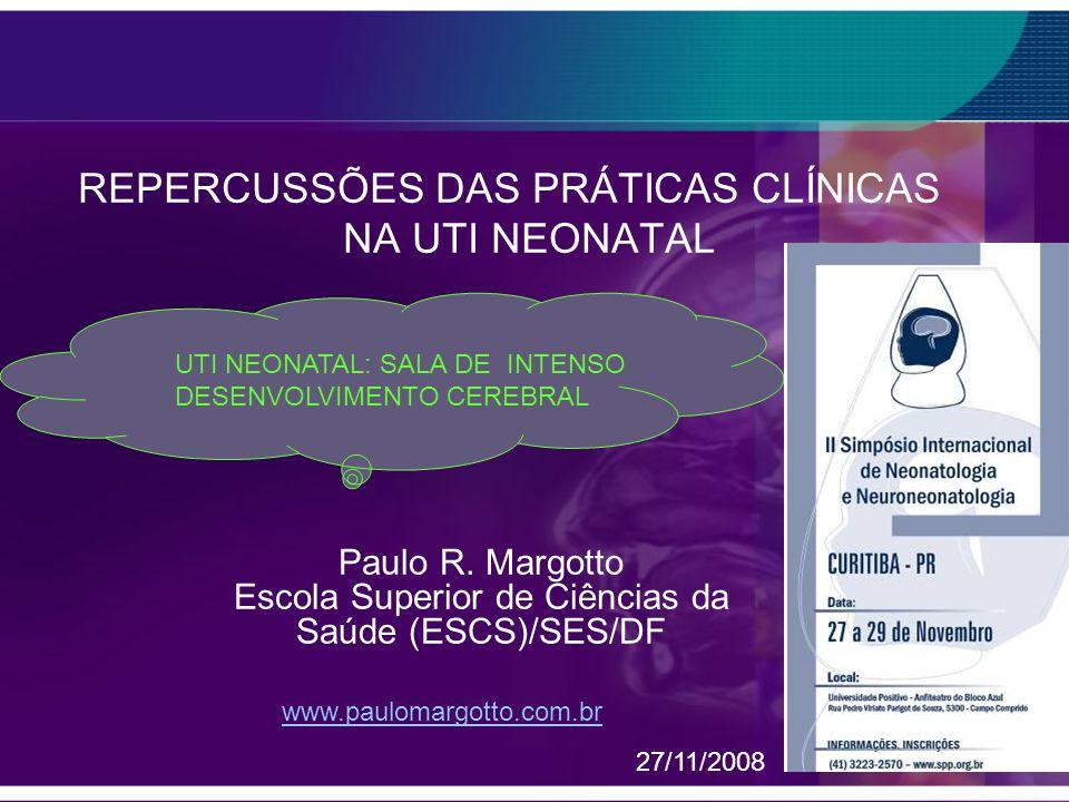 RETINOPATIA DA PREMATURIDADE Chow L C(2003) Alvo de Sat: 85 – 96% ( 32 sem); 85 – 93% (< 32 sem) Desmame de O2 (Sat 93 – 95%) Calibrar o oxímetro entre 80 – 95% Enfermagem: assinar o protocolo / monitorada Margotto,PR (ESCS )