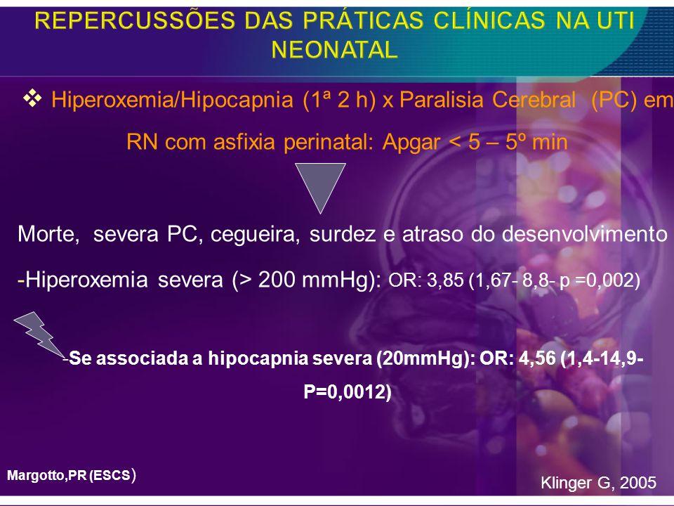 Hiperoxemia/Hipocapnia (1ª 2 h) x Paralisia Cerebral (PC) em RN com asfixia perinatal: Apgar < 5 – 5º min Morte, severa PC, cegueira, surdez e atraso