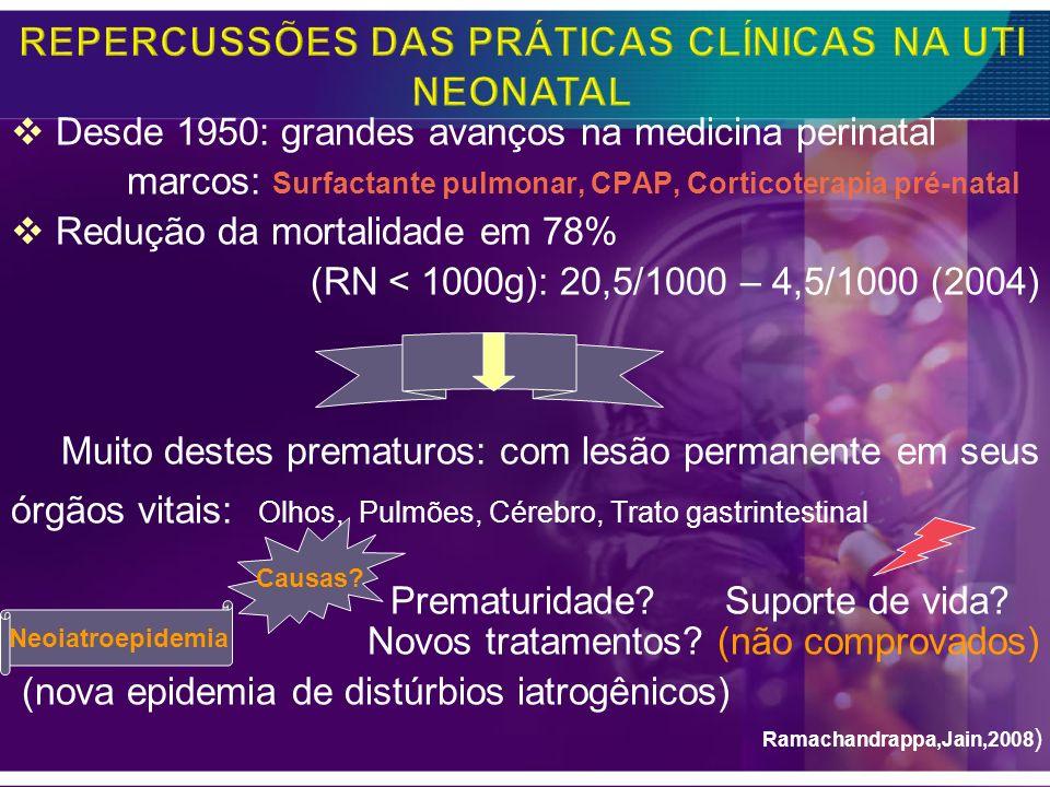 -Corticosteróide pós-natal: -Dose preconizada por Alan Jobe -Dexametasona: 0,1 mg/Kg/dia por 3 dias -Evolução: a extubação foi possível – O RN respondeu.