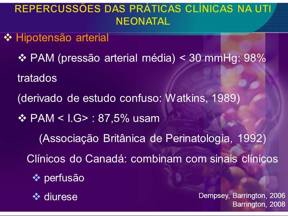 Hipotensão arterial PAM (pressão arterial média) < 30 mmHg: 98% tratados (derivado de estudo confuso: Watkins, 1989) PAM : 87,5% usam (Associação Brit