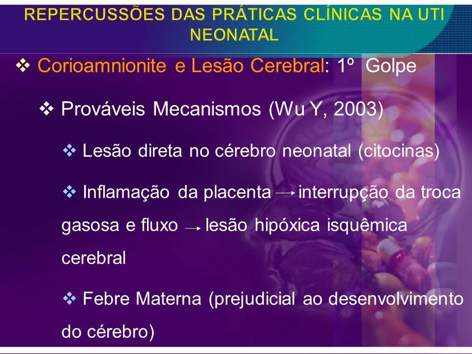 Corioamnionite e Lesão Cerebral: 1º Golpe Prováveis Mecanismos (Wu Y, 2003) Lesão direta no cérebro neonatal (citocinas) Inflamação da placenta interr